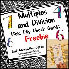 Multiples and Division Pick, Flip and Check Cards Freebie by Games 4 Learning - The fun way to review multiples and division facts! These multiples and division cards are self correcting cards. Students use a clothespin or paper clip to pick the multiples or