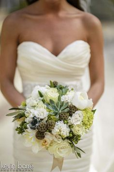 White and Green Bride's Bouquet with Succulents   Photo by Kevin Barre, Planning and Design by Bella Baxter