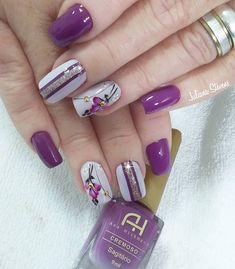 31 fotos de unhas decoradas com esmalte roxo Diy Nails, Swag Nails, Glitter Nails, Cute Nails, Pretty Nails, Simple Nail Designs, Beautiful Nail Designs, Nail Art Designs, Nail Art Tools