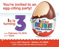 Kinder Egg Surprise Birthday Invite by XoluzCreative on Etsy