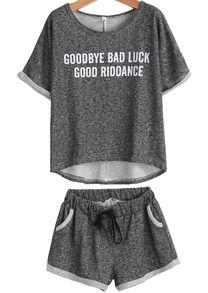 Grey Short Sleeve Letters Print Top With Drawstring Shorts
