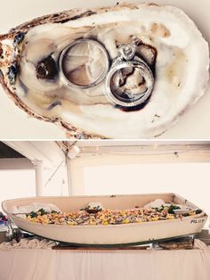 raw bar idea for a nautical wedding...inside a boat! plus, rings inside an oyster! (I might have eaten the oyster first...) #beach #seaside #wedding