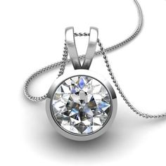 "Full Bezel Set 1/3ctw Round Diamond Solitaire Pendant on 18"" Cable Chain through V shaped bail in Platinum"