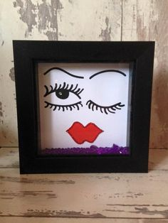 Wall art ~ Funky Face design in a shadown box frame ~ trending items ~ birthday gift ~ home or office decoration ~ salon decoration by FunkyDesignsbyDi on Etsy Face Design, Box Frames, Tgif, Birthday Gifts, Wall Art, Etsy, Decoration, Home Decor, Birthday Presents