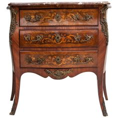 Exquisite 19th Century Louis XV Marquetry Chest with Rouge Marble Top  Look at this with other marquetry  PRICE:$2,295 Purchase  PLACE OF ORIGIN:France DATE OF MANUFACTURE:circa 1890 PERIOD:Late 19th Century MATERIALS AND TECHNIQUES:Rosewood, lemon wood, Mahogany, Marble, Bronze MATERIALS NOTES:rosewood, lemon wood, mahogany, marble, bronze CONDITION:Excellent HEIGHT:34 in. (86 cm) WIDTH:36 in. (91 cm) DEPTH:16 in. (41 cm) DEALER LOCATION:Fayetteville, AR  Exquisite 19th Century…