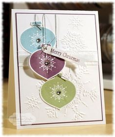 Cute Christmas card. Stampin Up Ornaments