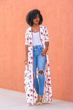 ripped jeans outfit Click Visit link above for more info Classy Outfits, Fall Outfits, Casual Outfits, Cute Outfits, Kimono Outfit, Kimono Fashion, Fashion Dresses, Look Fashion, Girl Fashion