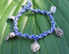 Dark Blue and Light Blue Hemp Charm by PeaceLoveNKnottyHemp, $8.00