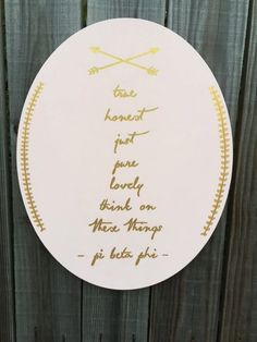 Pi Beta Phi Philippians Arrow Canvas Oval by Luxeworthy on Etsy