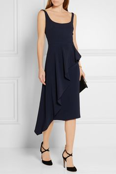 CUSHNIE ET OCHS Asymmetric ruffled stretch-cady dress$1,595