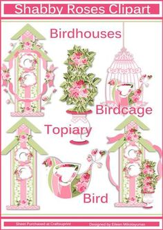 Shabby Roses Bird Garden PNG JPG Clipart Set on Craftsuprint designed by Eileen Mikolayunas - You will receive 6 Clipart Graphics in PNG Format with each Clipart on its own page, plus the JPG Graphics on 1 Single Sheet. Included in the collection are:- 3 Birdhouses- 1 Topiary- 1 Birdcage- 1 BirdThe collection is filled with Romantic Shabby Roses in Hues of Pink and Grass Green. There are many options available for both Cardmaking and Scrapbooking with this Set. Enjoy! - Now available for ...