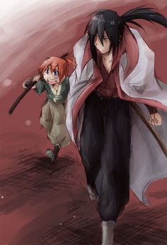 "Master Hiko and Kenshin. It was Master Hiko who came up with the name ""Kenshin,"" Kenshin's real name is Shinta."