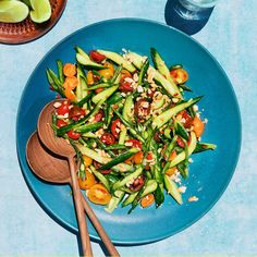 Cucumber, Tomato, and Green Bean Salad Recipe | Bon Appétit Thai Green Papaya Salad, Green Bean Salads, Green Beans, White Beans, Best Pimiento Cheese Recipe, Grilled Pork Shoulder, Cucumber Tomato Salad, Asian, Stuffed Green Peppers