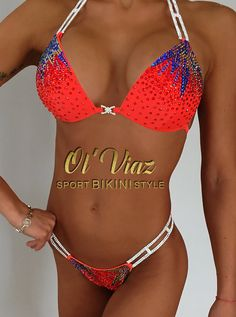 Coral&Orange Spandex Bikini Suit with Crystals/Competition Bikini Competition Suits, Figure Competition Suits, Fitness Competition, Wbff Bikini, Posing Suits, Bikini Workout, Bikini Fitness, Swimming Costume, Bikini Photos