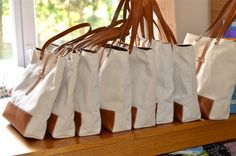 IKABAGS - French Eco friendly ORGANIC LINEN Medium French tote bag with Brown Leather strap / Market tote Bag
