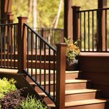 composite deck stairs railing,wpc handrail for wooden steps,No cracking vinyl stair railing