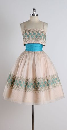 1950's Turquoise Embroidered Organza Cocktail Dress