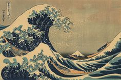 """Kanagawa-oki namimura"""""""" (Under the Wave at Kanagawa) Probably the most celebrated of all ukiyo-e prints, Hokusai's """"""""Great Wave"""""""" contrasts majestic nature and diminutive humankind. Though Western concepts of perspective are employed, there are many classical overtones harking back to Chinese painting, which deal largely with mountains and water coupled with the small presence of humans. The fleeting beauty of nature and Japan's famous scenic places hae been the subject of Japanese…"""