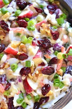 Apple Cranberry Coleslaw is the perfect way to mix things up for fall! Loaded with fresh apples dried cranberries chopped walnuts and green onions this coleslaw is crunchy sweet and so delicious! Thanksgiving Recipes, Holiday Recipes, Great Recipes, Favorite Recipes, Christmas Salad Recipes, Slaw Recipes, Fruit Salad Recipes, Healthy Recipes, Fruit Salads