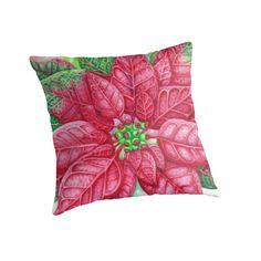 Pretty Poinsettia Throw Pillows by AnMGoug on Redbubble. #Christmas #pillow #Poinsettia