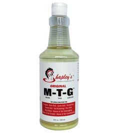 Shapley's™ Original M-T-G™ 32 oz. treats a variety of skin problems quickly and easily with results seen as soon as a day after the very first application. It successfully treats the following conditions: rain rot, dew poisoning, scratches, mud fever, greasy heal, sweet itch, girth itch, itchy skin, dandruff and tail rubbing.