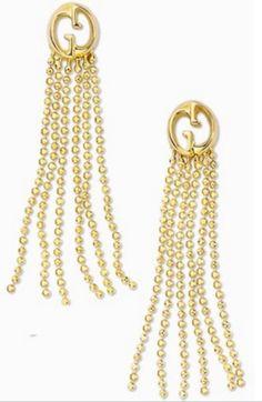 db3d015b789 NWT GUCCI 18k Yellow Gold GG Tassel Drop Beaded Fringe Earrings  1
