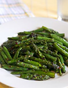 Thai Peppered Asparagus With Peppercorn Mix, Cilantro Leaves, Garlic, Asparagus, Green Beans, Light Brown Sugar, Water, Asian Fish Sauce, Red Pepper Flakes