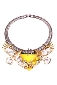 silver collar+ gold and glass birds + yellow pendant Lulu Frost