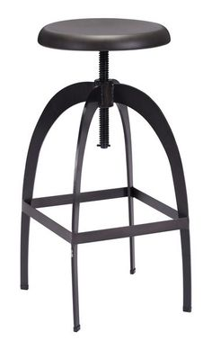 Aristotle Adjustable Height Bar Stool in Antique Black Metal
