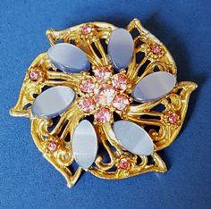 b4f1f8af4 Vintage Blue Thermoset Flower Brooch Gold Tone Pink Glass Stones Rhinestones