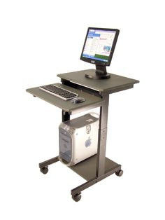 Computer Stand For Desk On Wheels With Keyboard Tray Tv Wand Mobile