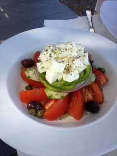 Santorini Gorgeous Greek Salad Santorini, Turnip Salad, Greek Salad, Caprese Salad, Avocado Toast, Breakfast, Food, Greek, Salads
