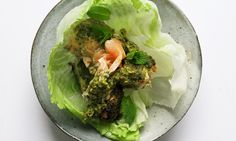 In this far from usual wrap, green leaves envelop spicy grilled salmon. By Nigel Slater