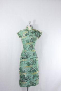 VINTAGE 1950's Cheongsam Dress Asian by VintageFrocksOfFancy, $130.00