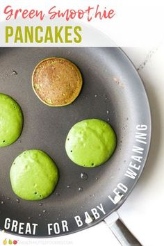 These green smoothies are perfect for babies, toddler, big kids and adults. A great way to start the day with some hidden fruit and veggies. #pancakes #babyledweaning #toddlerfood #kidsfood #hiddenveg #healthybreakfast