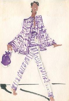Joe Eula fashion illustrations for Halston. Circa 1980