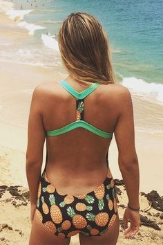 """Sporty """"T"""" – Beverly Swimwear. Back of one piece swimsuit. Athletic swimsuit. Low back and pineapple print"""