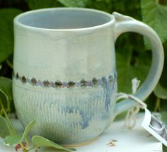 Handmade - Wheel Thrown Pottery Mug - Stoneware Cup. $20.00, via Etsy.