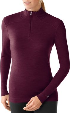 Wool Base Layer (Womens') SmartWool Midweight Long-Sleeve Zip-T Top Key features: wool keeps you warm when wet