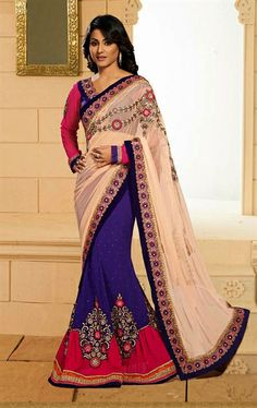 Picture of Beauteous Beige, Deep Purple and Pink Fashion Designer Saree
