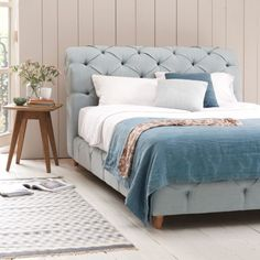 Loaf's new Benji is the bed incarnation of their very popular Bagsie sofa. The deep button detailing and hand-turned oak legs gives this beauty a really luxe feel with a smart scrolled headboard.