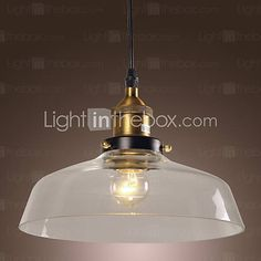 [GBP £ Classical Pendant Light with Transparent Glass Shade in Factory Style Cheap Pendant Lights, Pendant Lighting, Vintage Bowls, Lighting Online, Living Room Lighting, Living Room Bedroom, Glass Shades, Ceiling Lights, Traditional