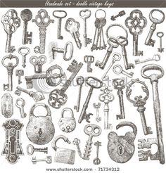 Antique Keys Clip Art
