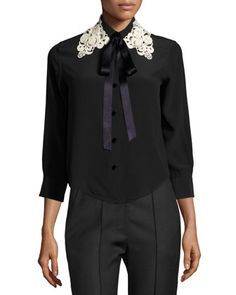 Silk+Crepe+Blouse+w/Lace+Tie+Collar,+Black+by+Marc+Jacobs+at+Bergdorf+Goodman.