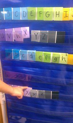 Paint sample alphabet from my classroom~ Adventures in Kindergarten