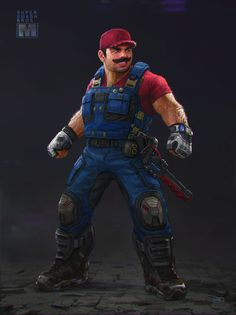 Gears of War Designer Recreates Super Smash Bros. Characters in a Epic Way - Mario, Link, Sonic, Mega Man Super Mario Bros, Super Smash Bros Characters, Nintendo Characters, Fictional Characters, Video Game Art, Video Games, Cyberpunk, Viewtiful Joe, Cosplay Anime