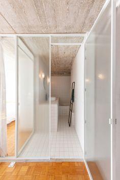 retro alphonse apartment 9 Apartment Renovation, 1 Bedroom Apartment, One Bedroom, White Bathroom Tiles, White Tiles, Custom Made Furniture, Furniture Making, Contemporary Architecture, Interior Architecture