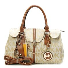 Michael Kors Logo Chain Large Khaki Satchels