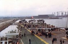 , Aft deck on HMCS Bonaventure with Harland & Wolfe shipyard in the distance. Bonaventure was built there. Us Navy Aircraft, Navy Aircraft Carrier, Royal Canadian Navy, Royal Navy, Canadian History, Flight Deck, Nova Scotia, Planes, Boats
