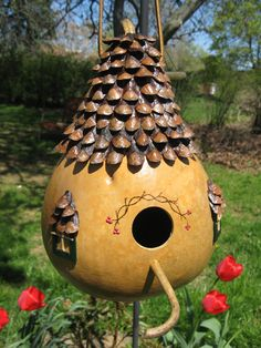 English Cottage Gourd Birdhouse, because yes, I actually do have gourds sitting around begging for attention!